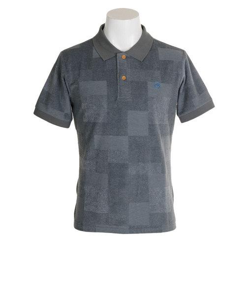 ROSASENパッチワーク柄パイル地半袖ポロシャツ 044-21840-026