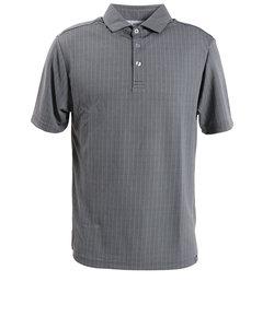 ピージー(PG)ゴルフウエア メンズ ストライプジャガードポロシャツ PGLS-2001 GRY