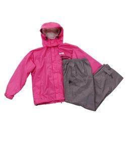 ロゴス(LOGOS)レインコート 上下 ジュニア レインスーツ 28242 MGT B 収納袋付 ピンク かわいいレインウェア 防災