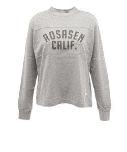 ROSASENシャツ レディース アイレットメッシュ長袖モックネックシャツ 045-22212-012