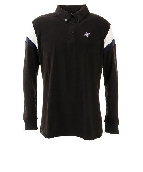 クランク(CLUNK)ゴルフウエア ポロシャツ メンズ 秋冬 長袖ボタンダウンポロシャツ CL38TG03 BLK