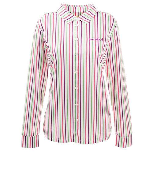 ビバハート(VIVA HEART)ゴルフウェア ポロシャツ レディース マルチストライプシャツ 012-22211-083
