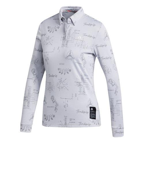 アディダス(adidas)ゴルフ ヒストリカルパターン 長袖ボタンダウンシャツ INS05-FS6359W
