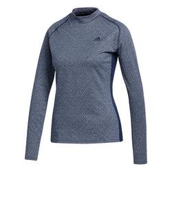 アディダス(adidas)ゴルフ メランジジャカード 長袖モックネックシャツ INS06-FS6442NV