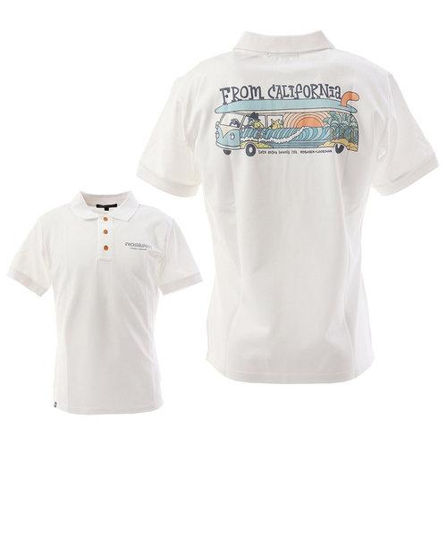 ROSASENポロシャツ ゴルフウェア ルーズマンポロ バス柄 044-29441-004
