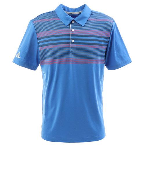 アディダス(adidas)ゴルフ ポロシャツ ゴルフウェア メンズ チェストストライプ半袖シャツ FRM21-DQ2402 BL