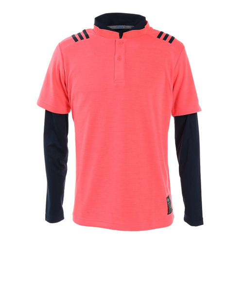 アディダス(adidas)ゴルフウエア メンズ 秋冬 スリーストライプス レイヤードスタンドカラーシャツ INS67-FS6869PI/NV
