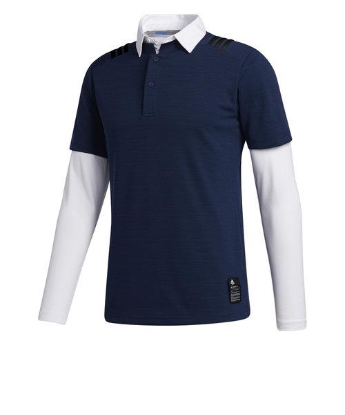 アディダス(adidas)ゴルフウエア メンズ 秋冬 スリーストライプス レイヤードスタンドカラーシャツ INS67-FS6870NV/W