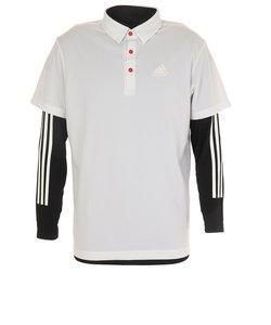 アディダス(adidas)ゴルフ ポロシャツ メンズ スリーストライプス レイヤードボタンダウンシャツ FVE69-DW6251W/BK オンライン価格