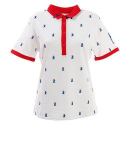 ビバハート(VIVA HEART)ゴルフウェア ポロシャツ レディース ピエロプリント 半袖シャツ 012-29543-004