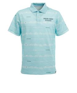 ニューバランス(new balance)ゴルフ ポロシャツ メンズ ロゴプリント シューズ柄ボーダー 半袖012-0160010-111