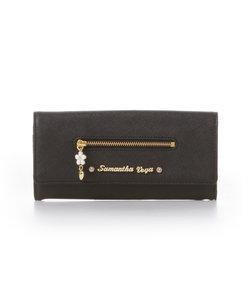 フラワーモチーフかぶせ長財布