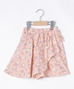 【90-130cm】フラワープリントスカート風キュロットパンツ