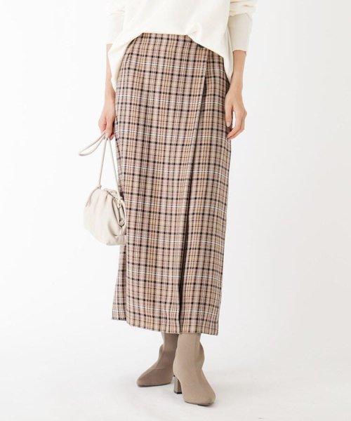 BRERA チェックカルゼ ラップミディスカート【WEB限定サイズ】