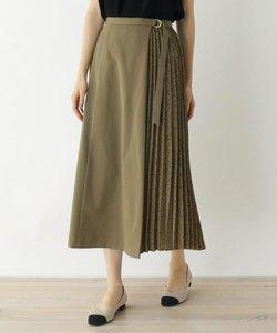 【洗える・42(LL)WEB限定サイズ】ドットプリーツ切替 フレアスカート
