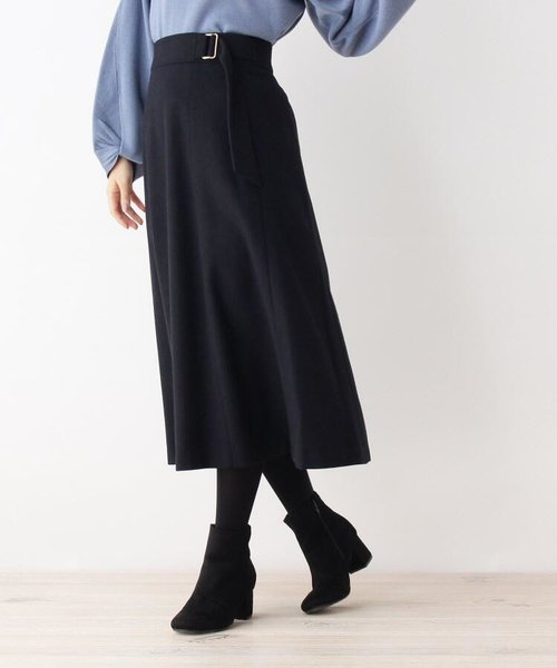 【34(SS) 42(LL)WEB限定サイズ】サイドバックル付きフレアスカート