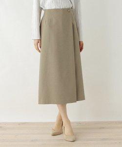 Reflax(R)ラップ風ウエストボタンロングスカート【WEB限定サイズ】