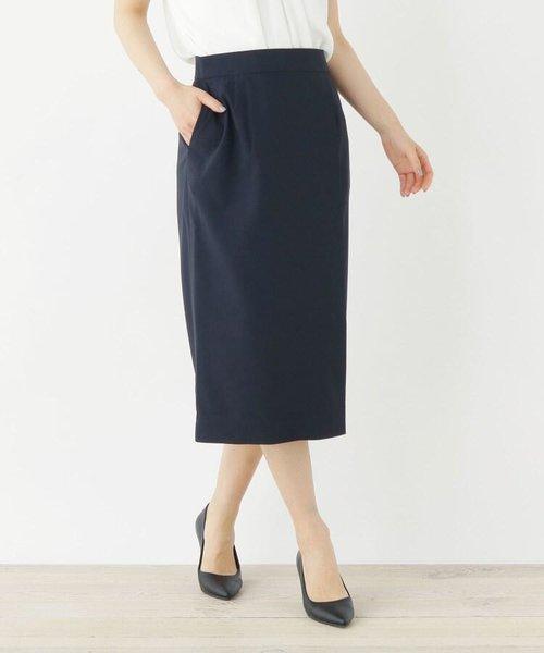 リネンテイストタイトスカート【WEB限定サイズ】