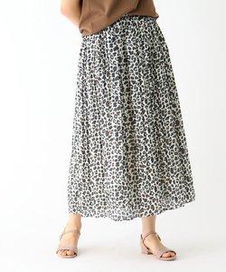 【洗える】【イージーケア】シャイニー割線 レオパードプリント プリーツスカート