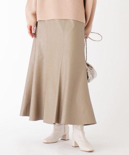 エコレザーフレアマーメイドスカート【WEB限定サイズ】