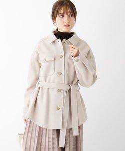 シンプルジャケット風ベルト付きコート