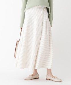 ストレッチヴィンテージクロス ストライプフレアラップスカート【WEB限定サイズ】