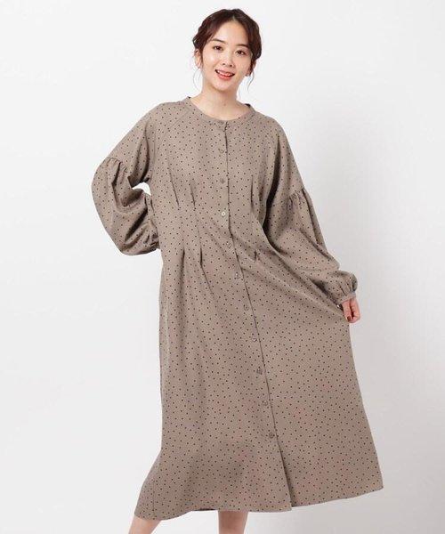 羽織りにしても可愛いドットシャツワンピース/ONSTYLE