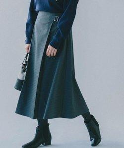 ウール調合繊ラップ風ミディフレアスカート