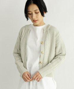 [洗える]柄編みショートカーディガン