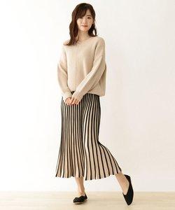 【2点セット】ニット+配色スカート