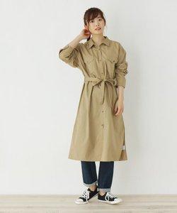 【M-L】ベルト付きハイウエストシャツワンピース
