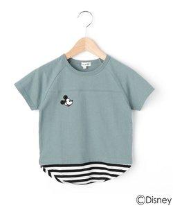 【Disney/ディズニー】「ミッキーマウス」デザイン 胸刺繍裾フェイクTシャツ