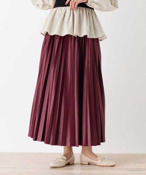【S-L】レザーフィールプリーツスカート