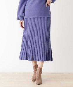 【M-L/洗濯機で洗えて毛玉になりにくい】ニットフレアスカート