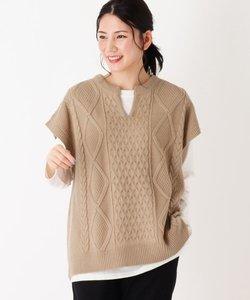 【M-L/2点セット】ケーブルビックニットベスト+長袖Tシャツ