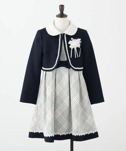 【セレモニー/入卒/3点セット】ボレロ付きチェックワンピース
