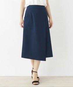 【洗える・42(LL)WEB限定サイズ】ストレッチラップデザインナロースカート