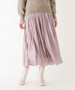割繊シャイニーサテンワッシャープリーツスカート【WEB限定サイズ】