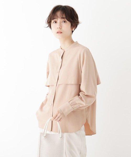 スタンドカラーサテンシャツ
