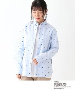 PEANUTS/ピーナッツ スヌーピー シルエット総柄ボタンダウンシャツ