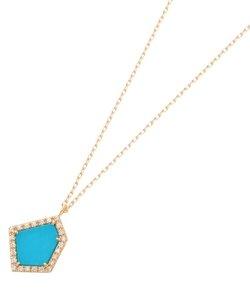 カラーストーン(ターコイズ×ダイヤ)平石ネックレス小