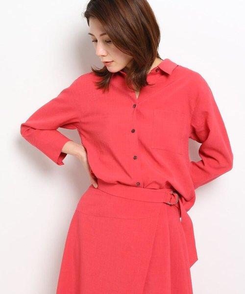 【洗える】ロングカフススタンド衿シャツ