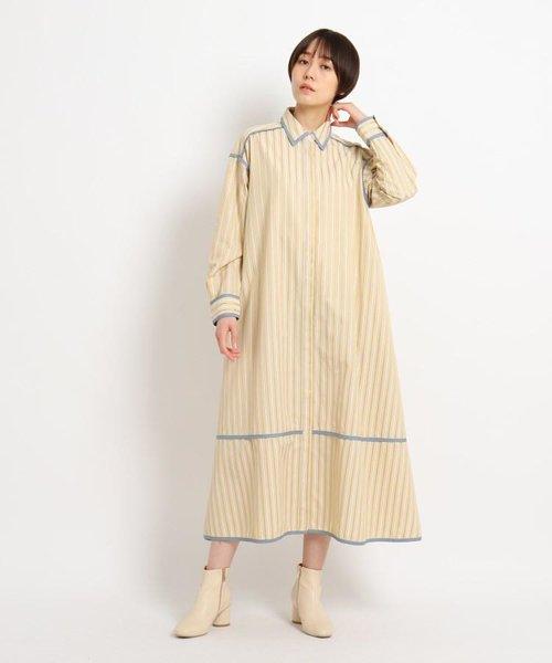 【WEB限定】パイピングデザインストライプシャツワンピース