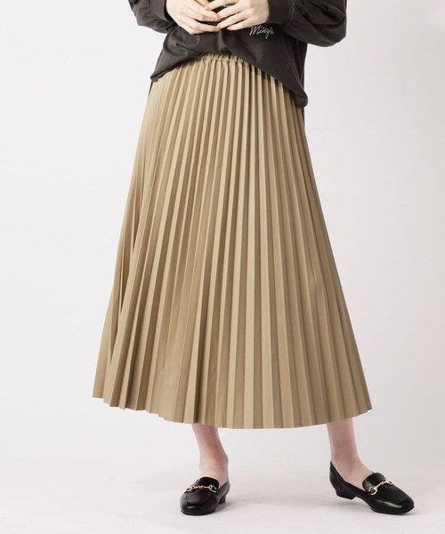 【S-LL】フェイクレザープリーツロングスカート