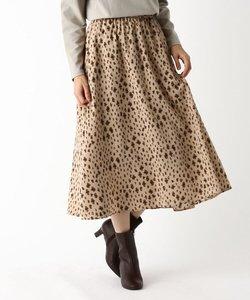 【手洗いOK】フラワーレオパード柄プリーツスカート