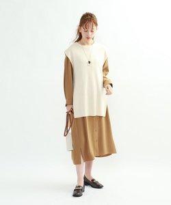 【ハンドウォッシュ】ニットベスト×シャツワンピース アンサンブル
