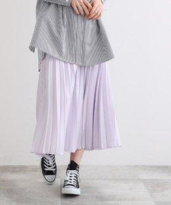【WEB限定カラー】ドレープサテン切り替え風プリーツスカート