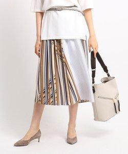 【マシンウォッシュ】ポリクロスレトロストライプロングスカート