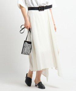 ストライプ巻き風スカート