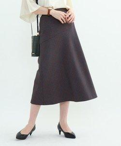 ◆【マシンウォッシュ】チェック柄アシメ切替スカート